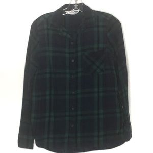Old navy blue & green plaid flannel top